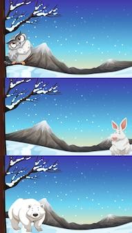 Animais selvagens na ilustração do tempo de inverno
