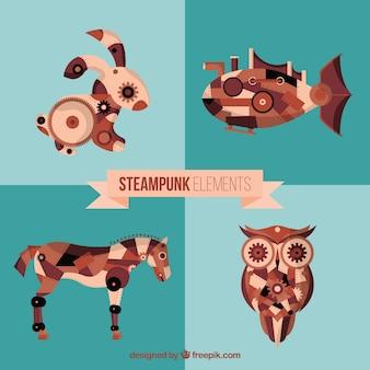 Animais steampunk desenhados mão