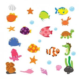 Animais subaquáticos dos desenhos animados