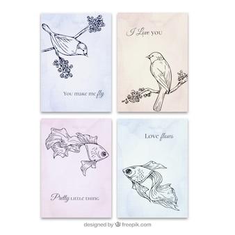 Animais tirados mão do amor cartões definidos