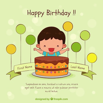 Aniversário com bolo de aniversário