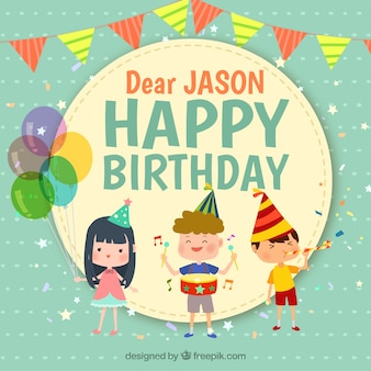 Aniversário, fundo, três, sorrindo, crianças