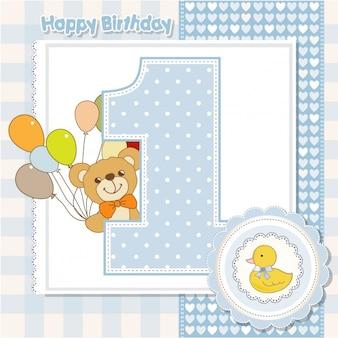 Aniversário número 1 cartão