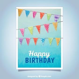 Aniversário, saudação, aquarela, guirlandas