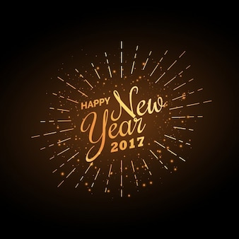 Ano de 2017 Fundo da celebração do novo feliz na cor dourada