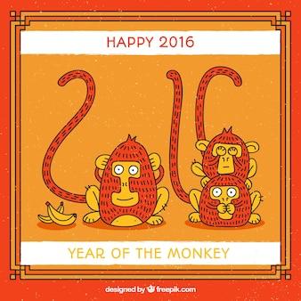 Ano do cartão de macaco engraçado
