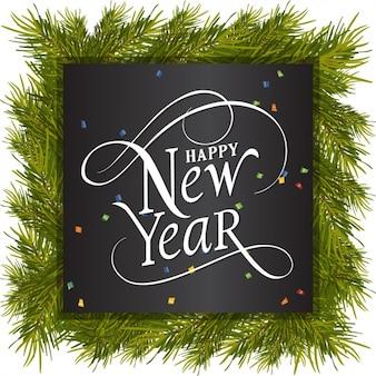 Ano novo feliz com quadro de pinheiros e confetes coloridos