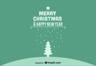 Ano novo feliz natal e feliz cartão postal verde