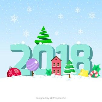 Ano novo fundo da neve com elementos de natal