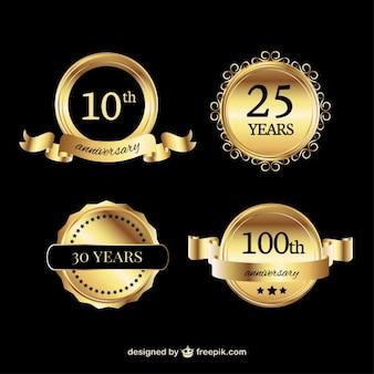 Anos aniversário dourado emblemas pacote