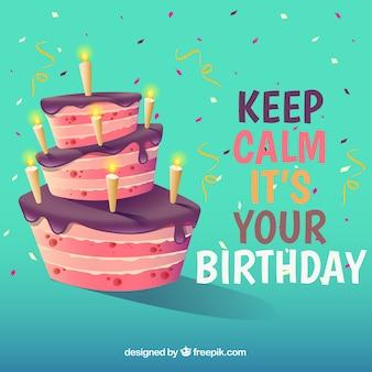 Antecedentes com bolo de aniversário e citações