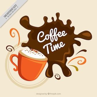 Antecedentes da caneca com mancha de café