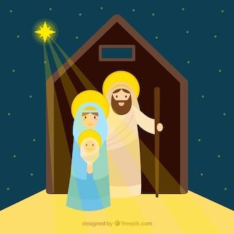 Antecedentes da estrela iluminando a cena da natividade