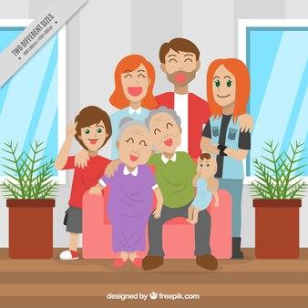 Antecedentes da família orgulhosa posando juntos