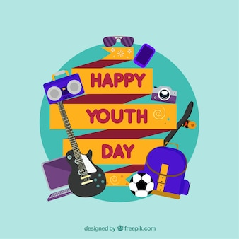 Antecedentes da fita feliz do dia da juventude com elementos em design plano