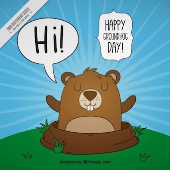 Antecedentes da mão agradável desenhada Dia da Marmota