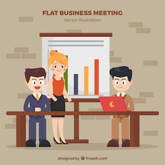 Antecedentes da reunião de negócios com personagens agradáveis