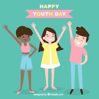 Antecedentes de amigos comemorando o dia da juventude