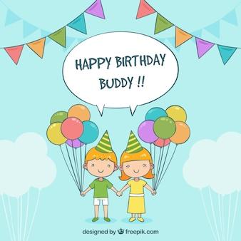 Antecedentes de crianças com balões de aniversário