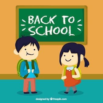 Antecedentes de crianças em sala de aula com quadro-negro