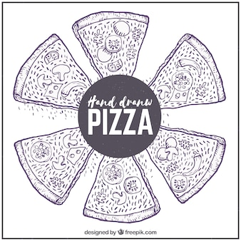 Antecedentes de esboços de pizza com ingredientes