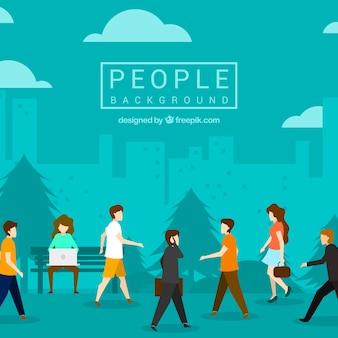 Antecedentes de pessoas andando em design plano