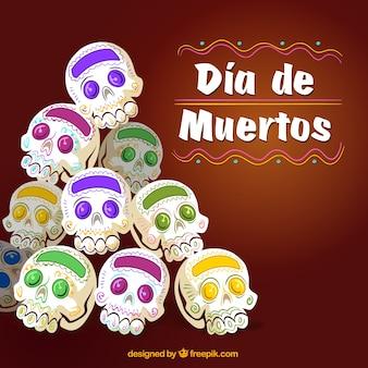 Antecedentes do dia dos mortos com crânios mexicanos desenhados a mão