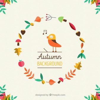 Antecedentes do pássaro que canta, rodeada de folhas