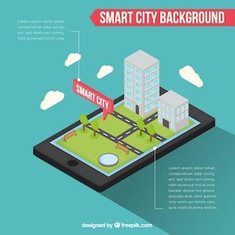 Antecedentes infográficos móveis com cidade inteligente