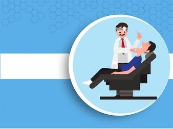 Antecedentes médicos com dentista e paciente.