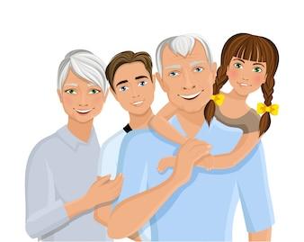 Antigos idosos avós familiares casal com netos metade do comprimento retrato ilustração vetorial