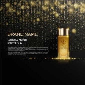 Anúncio cosmético com elementos brilhantes