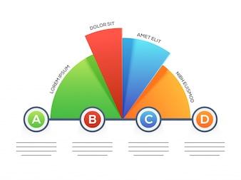 Apresentação do modelo infográfico empresarial com 4 etapas.