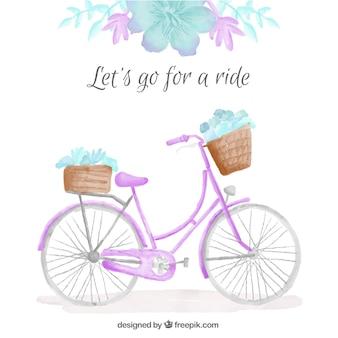 Aquarela bicicleta bonito com fundo floral detalhe