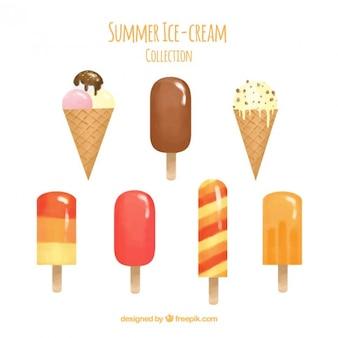 Aquarela coleção plana ice-cream