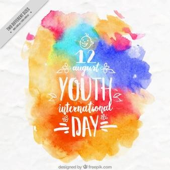 Aquarela coloridas manchas Fundo do dia da juventude