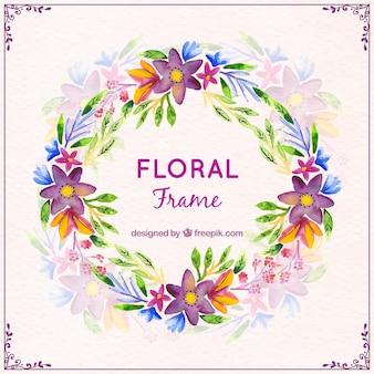 Aquarela coroa de flores