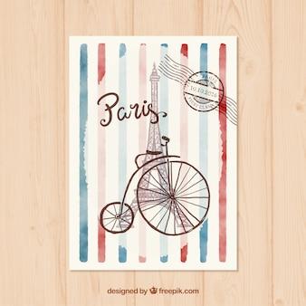 Aquarela da torre Eiffel Cartão Postal
