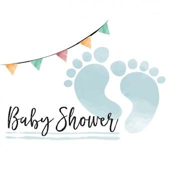 Aquarela do bebê Cartão do chuveiro para o menino