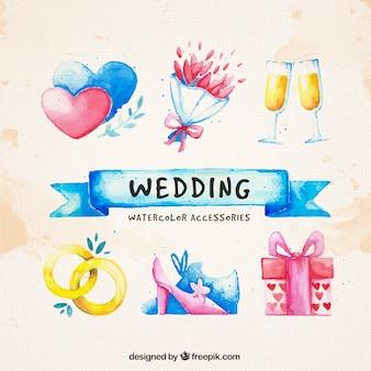 Aquarela elementos vários de casamento
