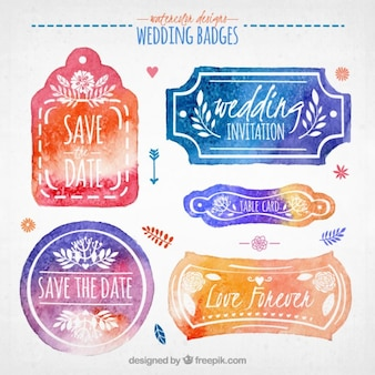 Aquarela emblemas bonitos do casamento