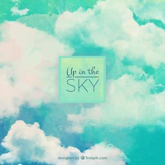 Aquarela fundo das nuvens