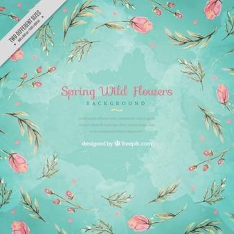 Aquarela fundo floral com folhas desenhadas mão