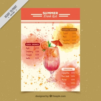 Aquarela lista de cocktails exóticos