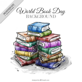 Aquarela livros empilhados fundo