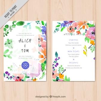 Aquarela modelo de menu do casamento floral