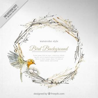 Aquarela pássaro bonito fundo em uma coroa de flores
