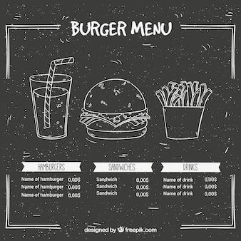 Ardósia com menu de hambúrguer