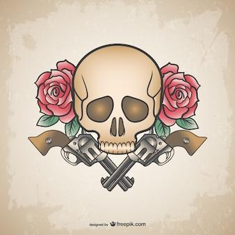 Armas crânio tatuagem e flores projeto
