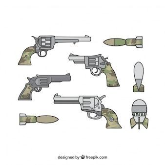 Armas militares com armas e pistolas